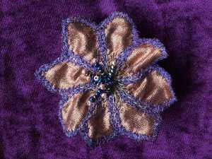 machine embroidered brooch